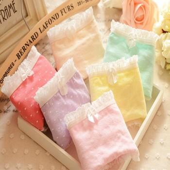 Casual Lady's Women's Multicolored Cotton Pleated Hem Panties Underwear Knickers Wholesale SHM