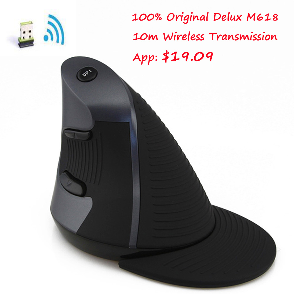Original Delux M618 Wireless Ergonomic Vertical Mouse usb 10m Right Hand Optical 2.4g Upright Mice for Computer Laptop Desktop(China (Mainland))