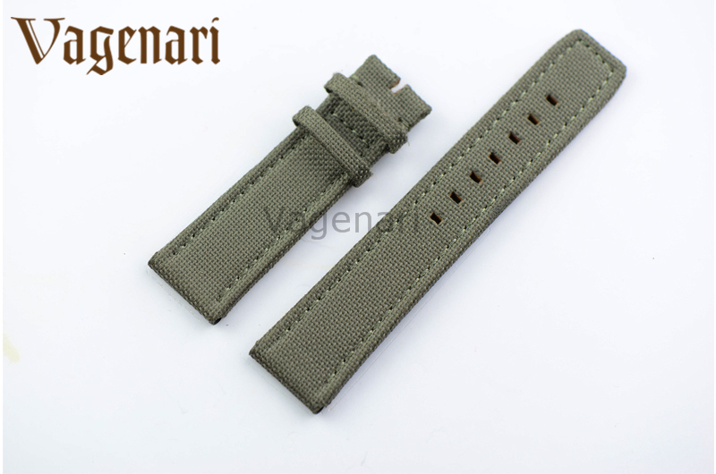 D212 Fashion 22/20mm Army Green Nylon Italy Genuine Leather Watch strap Buckle PAM - VAGENARI store