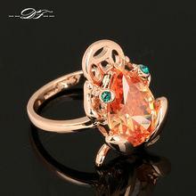 Austrilian Crystal Frog Finger Rings 18K Rose Gold Plated Fashion Brand Imitation Gemstone Jewelry For Women Wholesale DFR042(China (Mainland))