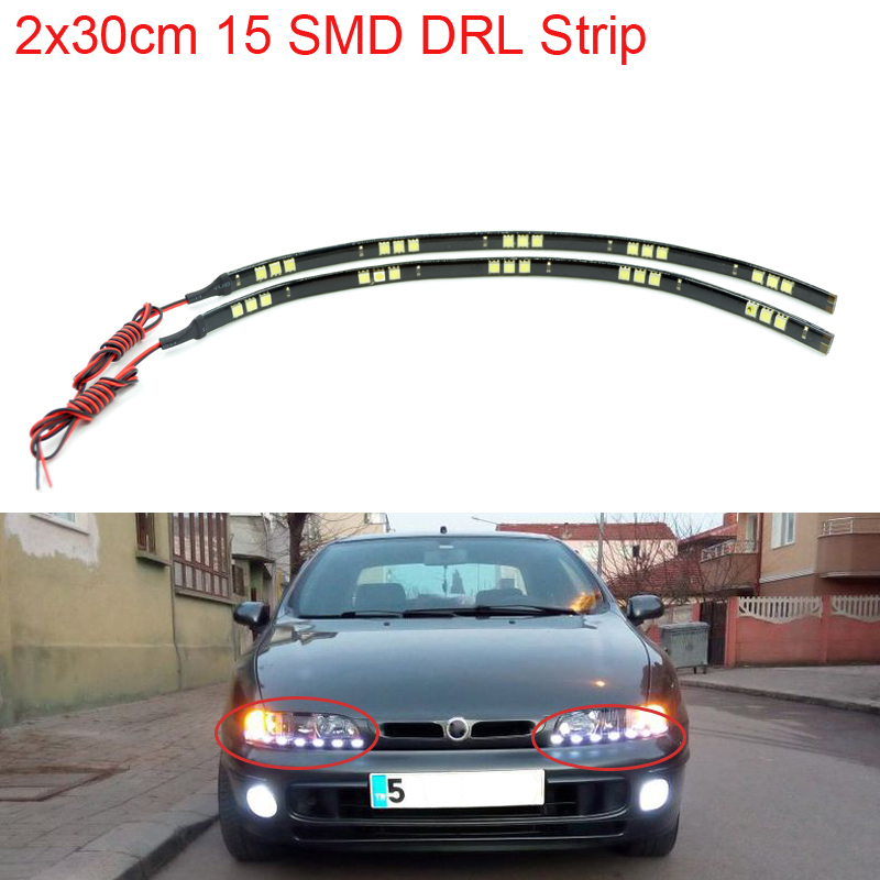 New DRL 2pcs/lot 30cm 15 SMD 5050 White Waterproof Daytime Running Lights Strip Decoration Flexible LED Car Styling Strips(China (Mainland))