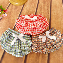 Newborn Kids Clothes ,Red White Plaid Printed Ruffled Bloomers ,Factory Ruffle Lattic Baby Shorts ,Cotton Nappy cover(China (Mainland))