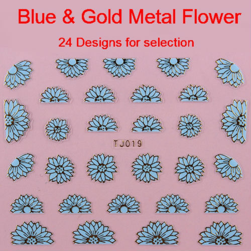 2013 New Arrival 24 Designs Blue & Gold Metal Sticker 3D Flower Nail Art Decorations Free Shipping