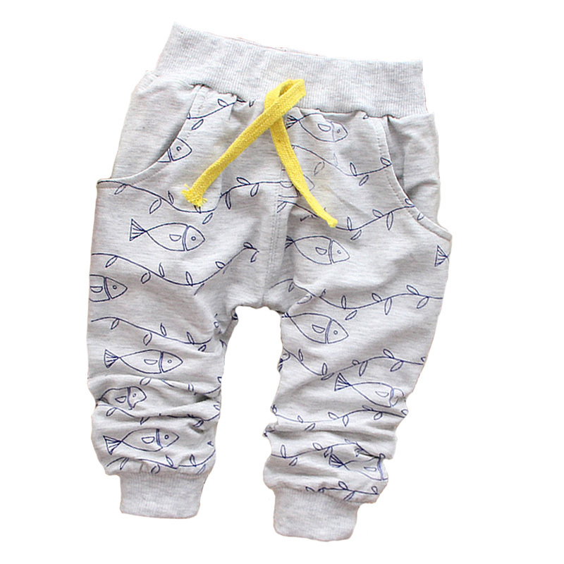 New 2015 spring Lovely Fish Fashion boy newborn pants Baby boy pants brand cotton children's pants baby clothing Autumn 7-24M(China (Mainland))