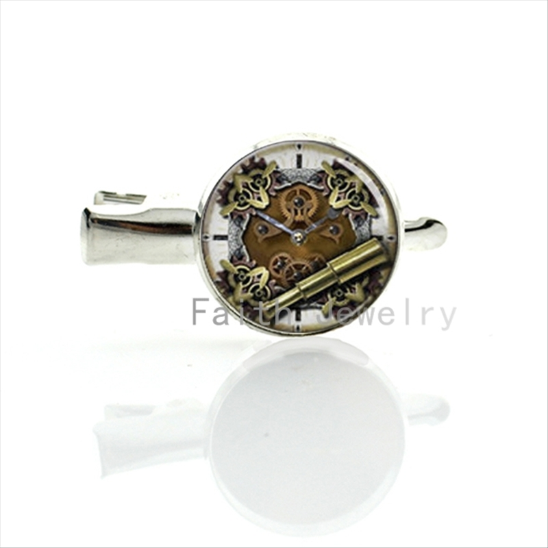 Steampunk Clock Movement art picture print glass dome hairpin classic steam punk machines golden gears image hair clip pins T290(China (Mainland))