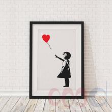 Banksy Ballon niña Art cartel de la pintura, cuadros de la pared para la decoración del hogar, marco no incluye 156