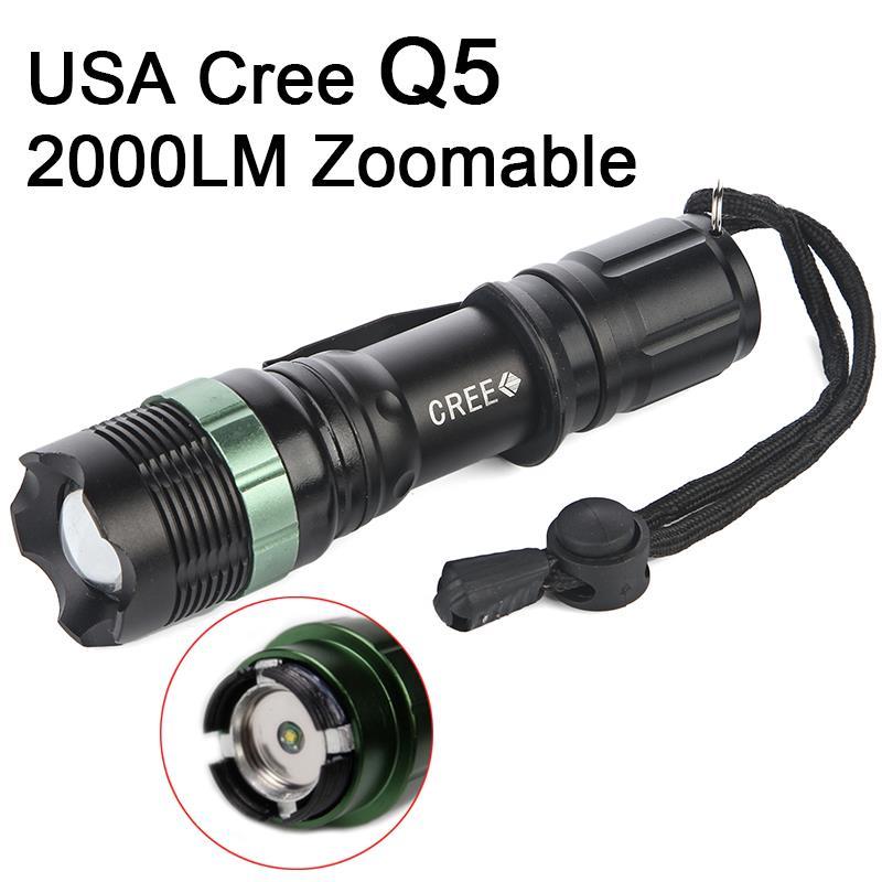 USA Import Cree Q5 LED Flash Light Torch Lamp Light Adjustable 3-Modes Best Quality Aluminum Battery18650/AAA Lanterna Tatica(China (Mainland))