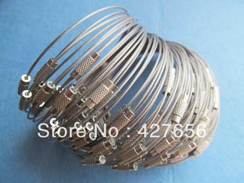 9.6inch Grey Round Stainless Steel Wire Bracelet Chain Hoop Chocker,1mm With Twist Clasp /Screw Clasp ,DIY Jewellry Accessory