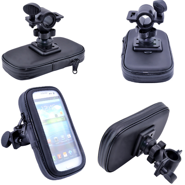 Hot Selling Luxury WaterProof Motorcycle Bike Handlebar Mount Case For Samsung Galaxy S3 S4 I9500 Leather Case Cover For Samsung