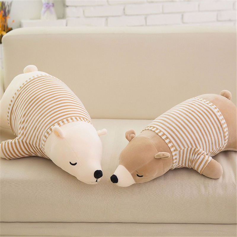 Popular Kawaii Sleeping Polar Bear Soft Stuffed Toy Big Teddy Doll Cute Plush Best Friends For Baby Toys For Children Kids Gift(China (Mainland))