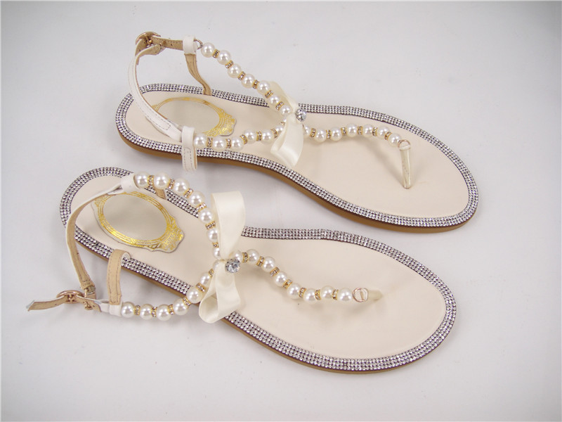 Ivory Flats With Pearls Ivory Pearls Sandals/flat