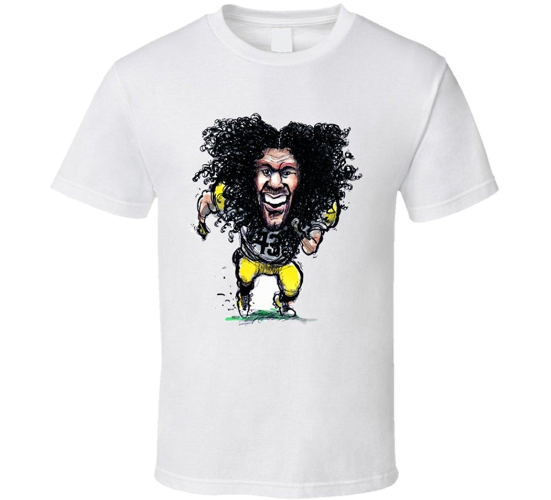 Troy Polamalu Caricature Footballer Pittsburgh T Shirt(China (Mainland))