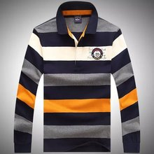 2015 Fashion Autumn Men's Striped Clothing Tace Shark brand Long sleeve Turn down collar Sweater Cotton Shark outerwear M--3XL(China (Mainland))