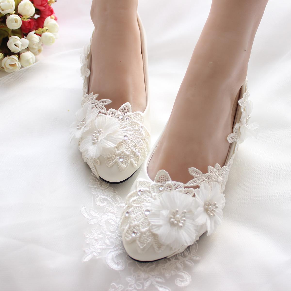 3CM 4.5CM 8.5CM 11CM Ladies Bridal High Heels Ivory Women Shoes Lace Crystal Stone Pearl Flower Handmade Women Pumps Girl Shoes(China (Mainland))