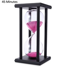 Stylish Ornament 45 Minute Sand Hourglass Countdown Timing Modern Wooden Sandglass Sand Clock Timer Home Decoration Wooden Frame(China (Mainland))