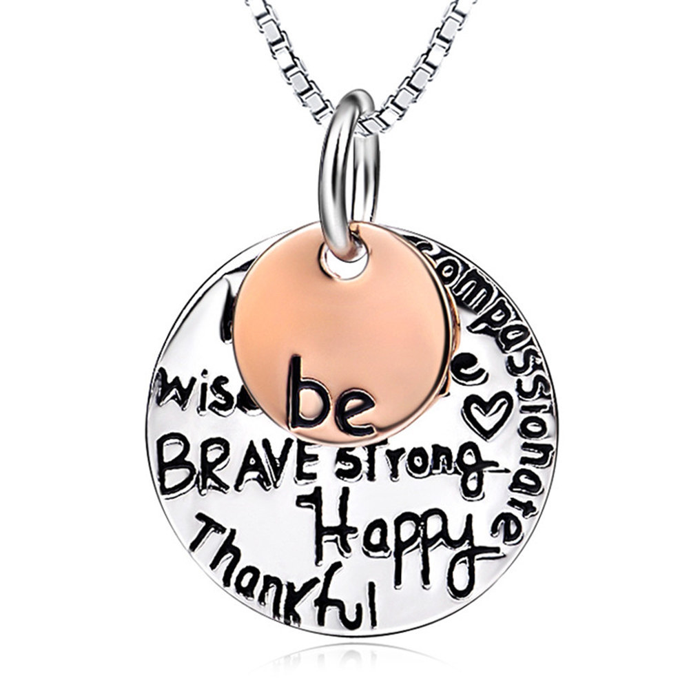 Genuine 925 Sterling Silver Be Brave Be Happy Engraved Pendant Necklace Women GNX0289(China (Mainland))