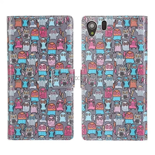 1pcs/lot Cartoon Multi Map Owl PU Leather Flip Wallet Stand Card Holder Case Cover For Sony Xperia Z1 L39H Free Shipping(China (Mainland))