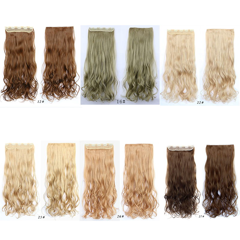 5pieces/set  60cm Long Natural Hairpieces Hair Piece Wavy Curly Synthetic Clip In Hair Extensions Women False Hair With Clips