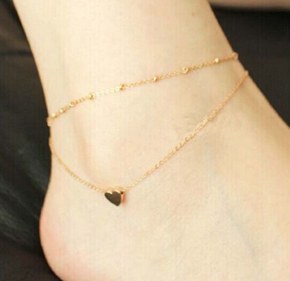 Gold versionTiny heart Anklet Delicate thin gold summer beach ankle bracelet anklet bridesmaid gift Free delivery