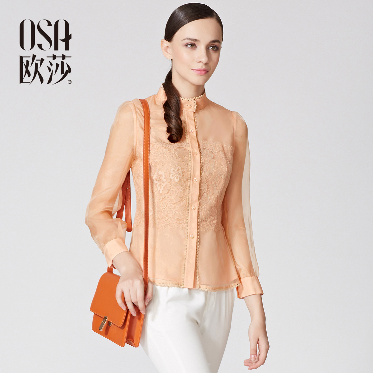 OSA 2014 Spring Shirt Lace Stand Collar Long Puff Sleeve Blouse Womens Slim Single Breasted Fashion Shirt SC410059(China (Mainland))