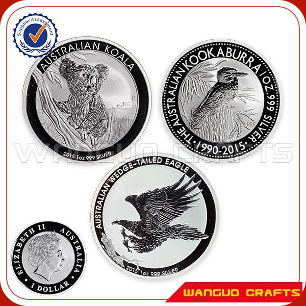 3 pcs/lot 2015 Perth Mint Australian Animals One Troy Ounce 1 oz Koala / Kookaburra / Eagle 999 Fine Silver Plated Dollar Coins(China (Mainland))
