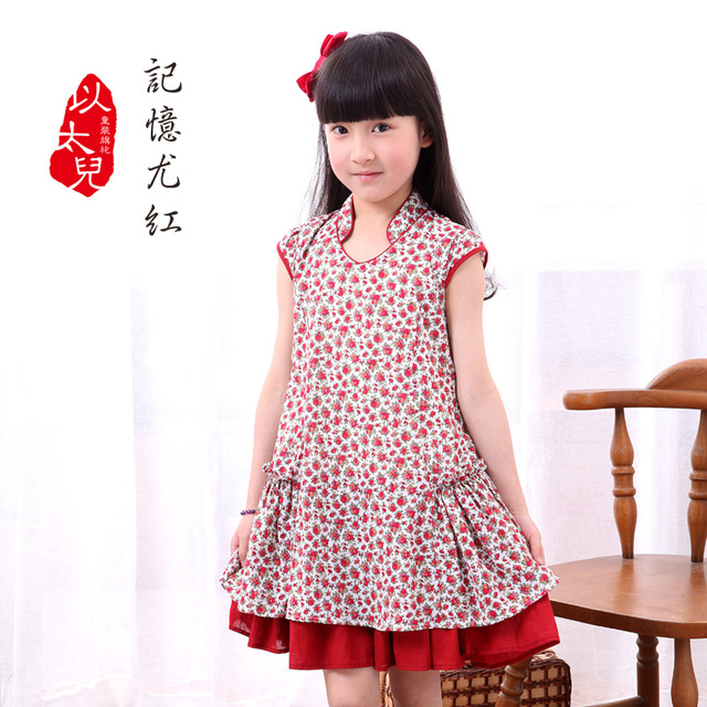 Drop female child cheongsam improved version child one-piece dress double layer large skirt lovely wind