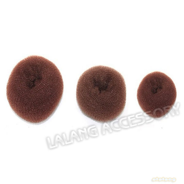3pcs New Design Nylon Net Hair Device Fashion Coffee Donut Shape Middle Size Twist Tool Bud Hair Hair Decoration 7cm fk300011(China (Mainland))