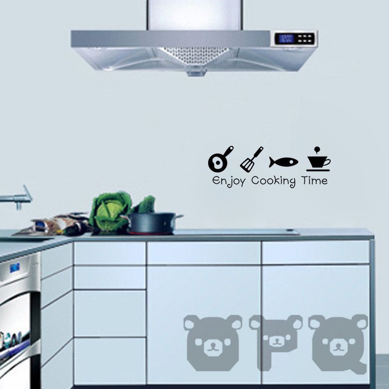 Cartoon kitchen cabinet decals cooking dining room for Cartoon kitchen cabinets