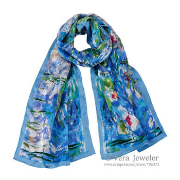 """100% Luxurious Satin Charmeuse Silk Scarf Art Oil Painting Claude Monet's """"Water Lilies"""" Hand Rolled Edges Long Shawl Wraps Blue"""