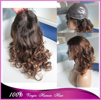 "top quality 16"" two tone #1bT#4 loose wave ombre peruvian remy hair full thin skin wig free shipping"