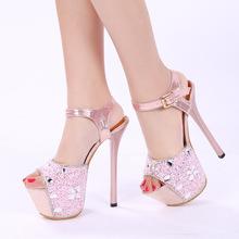 15cm Super High Heels Korea Princess Stiletto Sandals Peep Diamond Shoes Elegant Women Pumps Discount(China (Mainland))