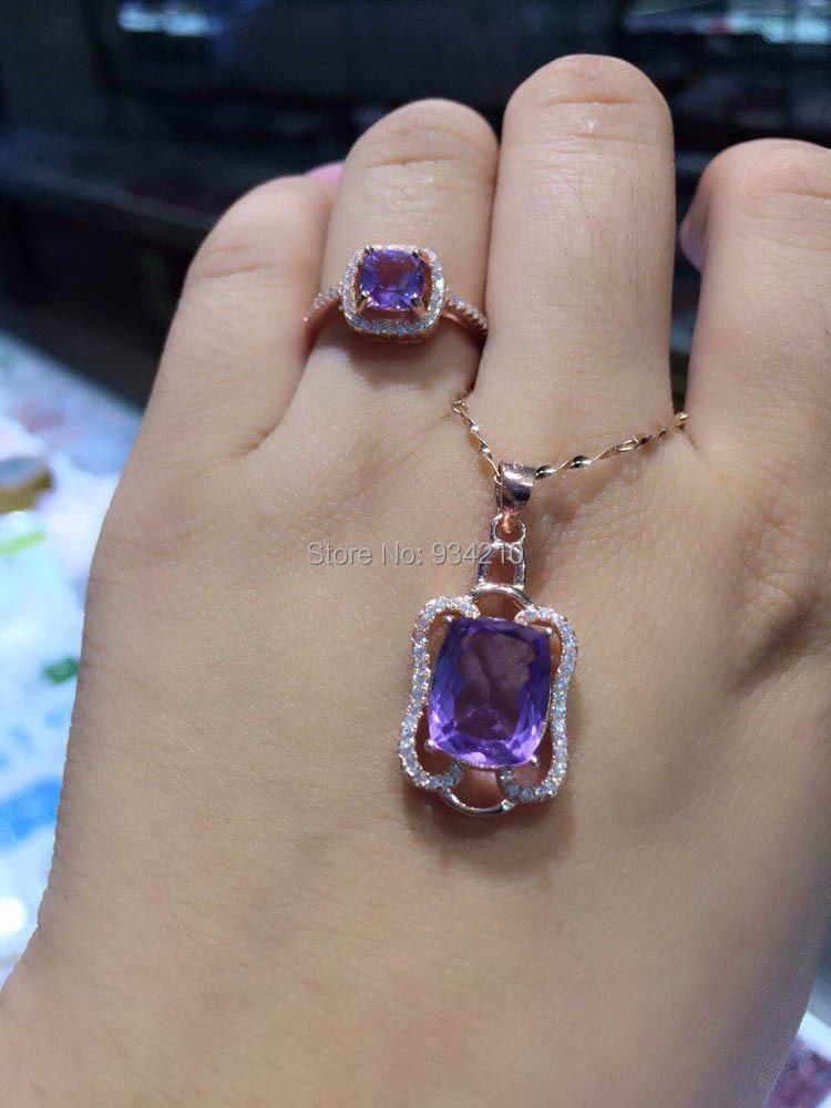 lovers gift birthday present jewelry set squared 925silver natural purple crystal necklace9*11mm ring 7*7mm(China (Mainland))