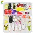 100 Pcs box Fishing Accessories Tackle Soft Worm Lures Metal Spinner Spoon Lure Night Fishing Lures