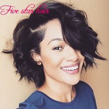 2016 Fashion Short Style Glueless Full Lace Wigs Virgin Brazilian Hair 100% real Human hair Lace front wigs with baby hair