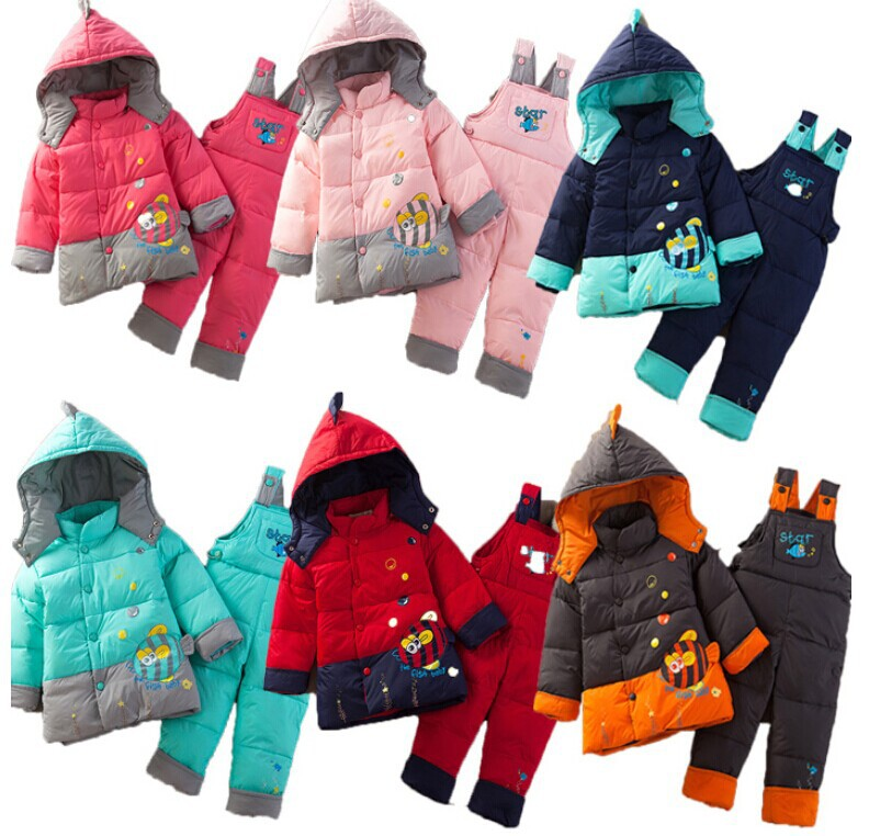 2014 Conjunto De Roupa Kids Clothes Sets Clothing Set And Winter Warm Down Jacket Suit Cartoon Children Overalls free Shipping(China (Mainland))
