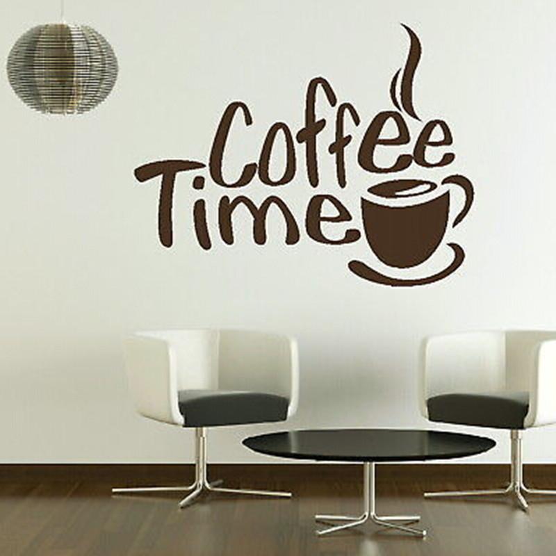 Coffee Time Wall Sticker 2016 New Creative adesivo de parede Home Decor Window Door Store Glass Stick Art Pic(China (Mainland))