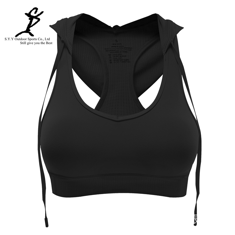 Women Hooded Padded Sport Bra Professional Running And Fitness Corsets Hot Female Gym Bra New Sexy Push-up Bustiers New Yoga Bra(China (Mainland))