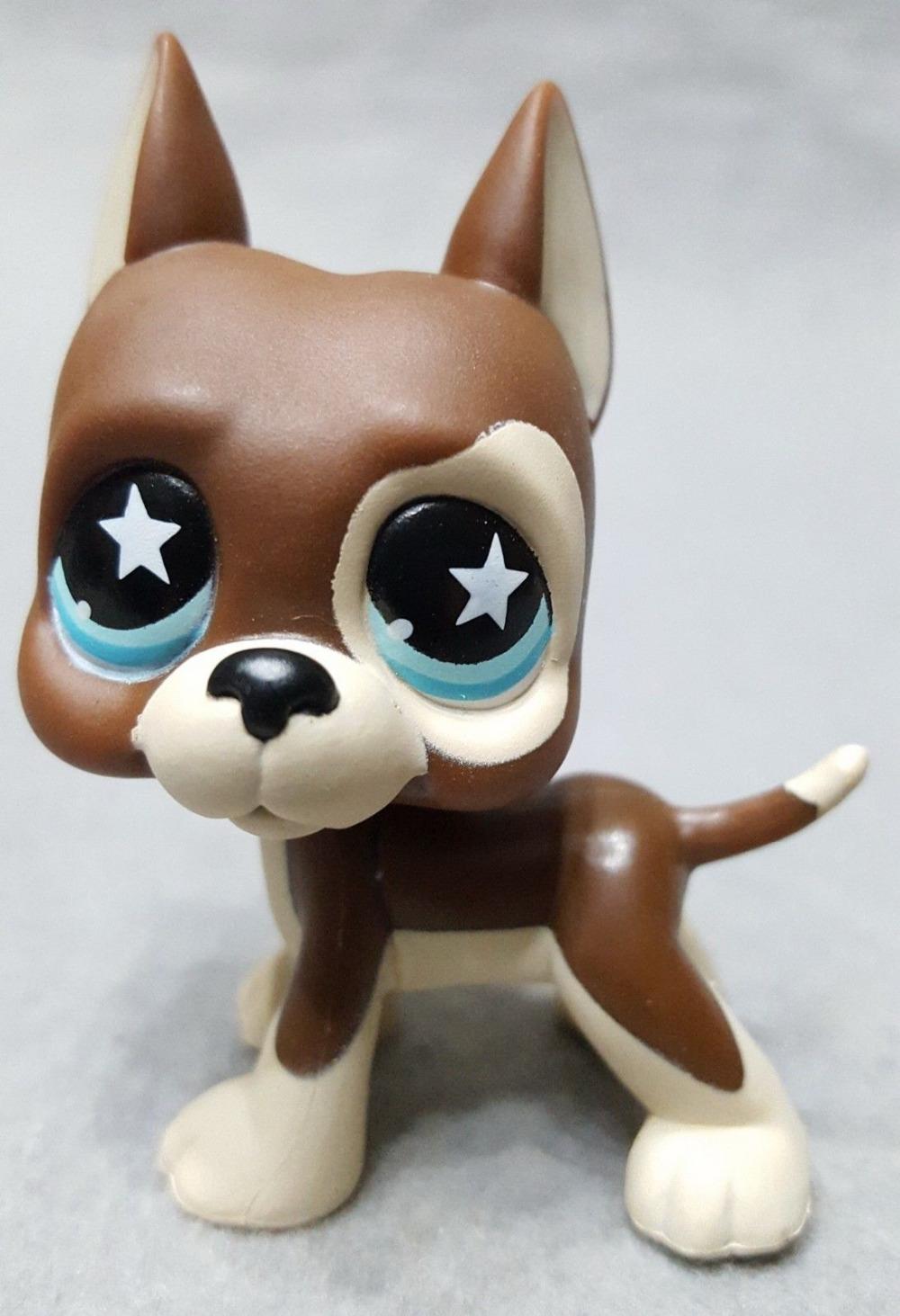 Genuine Original Littlest Dog Figure #817 Great Dane Puppy Tan Brown Blue Star Eyes Pet Doll Loose Toys Shop for kids Gift(China (Mainland))