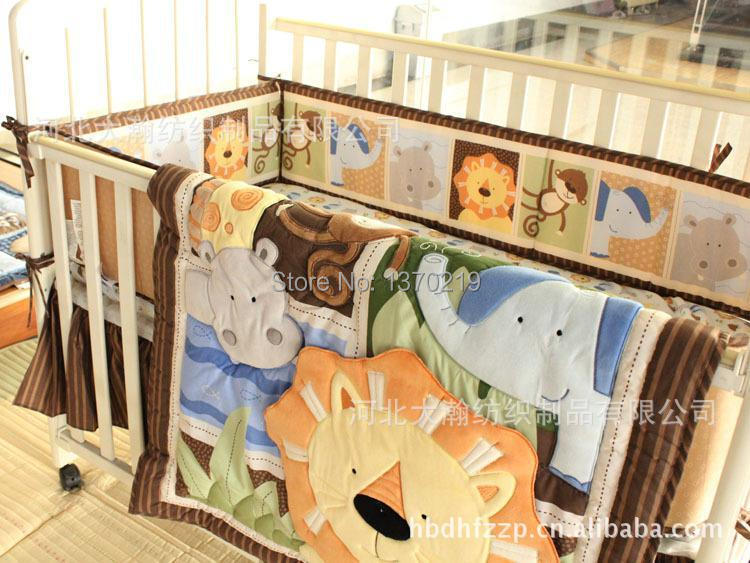 New 7pcs Embroidered Africa lion Pattern Baby Cot Crib Bedding Set 4 items includes Quilt Bumper Bed Skirt Mattress Cover(China (Mainland))