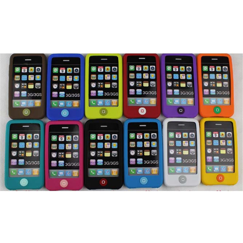 1x Jelly beans Silicone Case Cover For iPhone 3GS 3g Phone Skin Cover Free Shipping Dropshipping(China (Mainland))