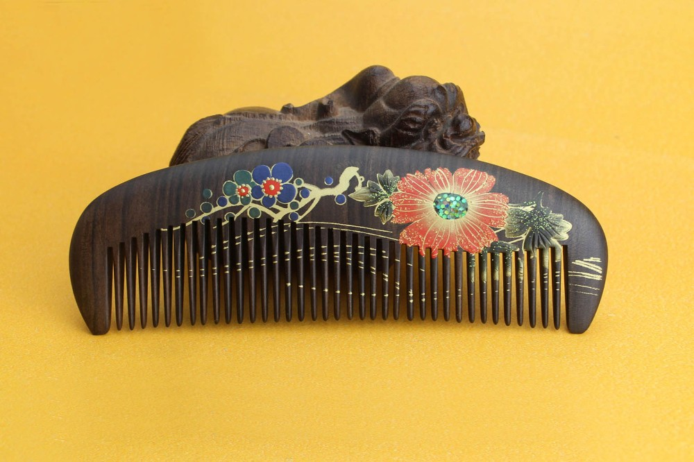 hight quality Real Ebony black comb 1 piece Health Care Hair Styling Tools hair brushes best gift cheap