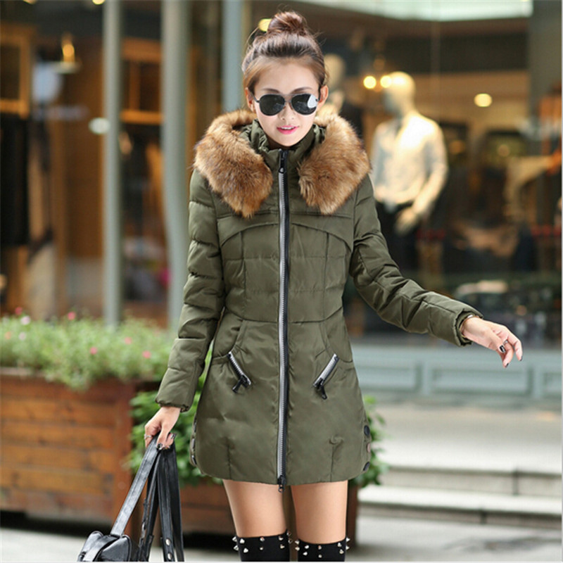 New Winter Womens Jacket Fashion Wadded Jacket Female Long Parka Fur Collar Hooded Down Cotton Coat Plus Size Casual Coat C1050Одежда и ак�е��уары<br><br><br>Aliexpress