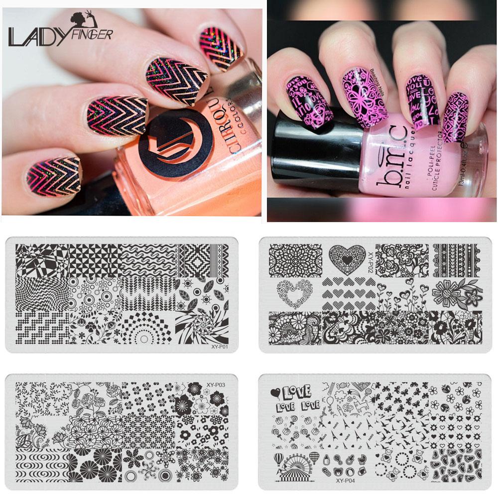 Sara Nail Salon 1Pcs Fashion Template Nail Art Plate Stainless Steel Image Flowers/Geometric Patterns XYP01-16(China (Mainland))