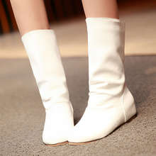 South Korea simple sweet style comfortable round toe mid-calf boot black white yellow med with increasing women motorcycle boots