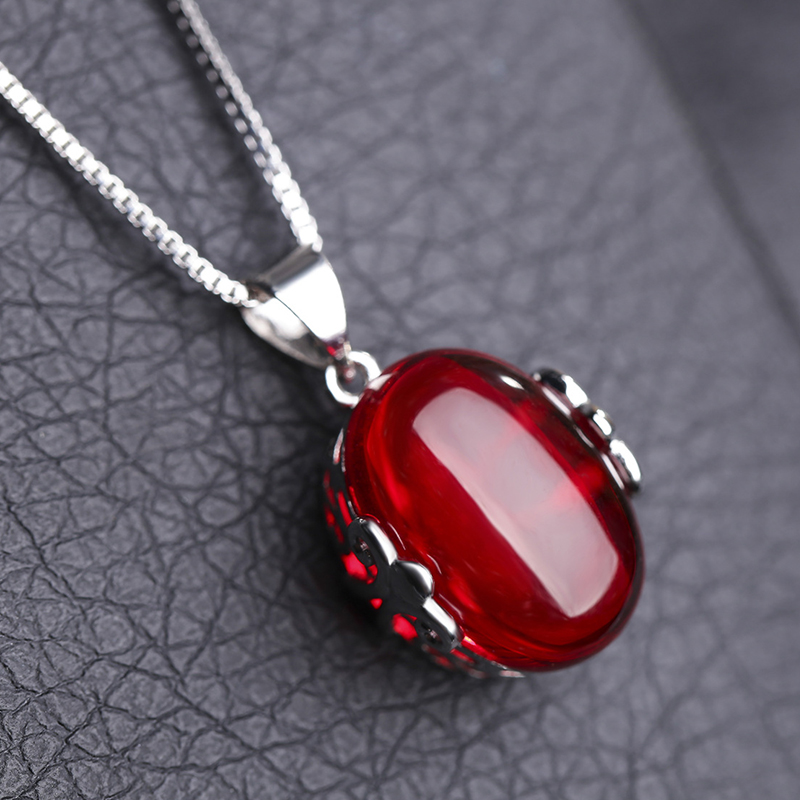 Natural ruby stone necklaces amp pendants for best friends white brass silver plated long chain women pendant necklace jewelry(China (Mainland))
