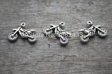 Buy 30pcs--Motorcycle Charms, Antique Tibetan Silver Tone 2 sided Dirt Bike charm pendants 23X18mm for $2.27 in AliExpress store