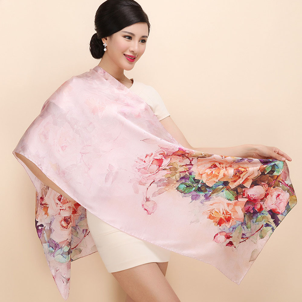 Free Shippingreal Winter Women Scarf Rose Printing Big Size Shawls 2016 Fashion Long Style Silk Scarves Wraps Limited Sh036(China (Mainland))