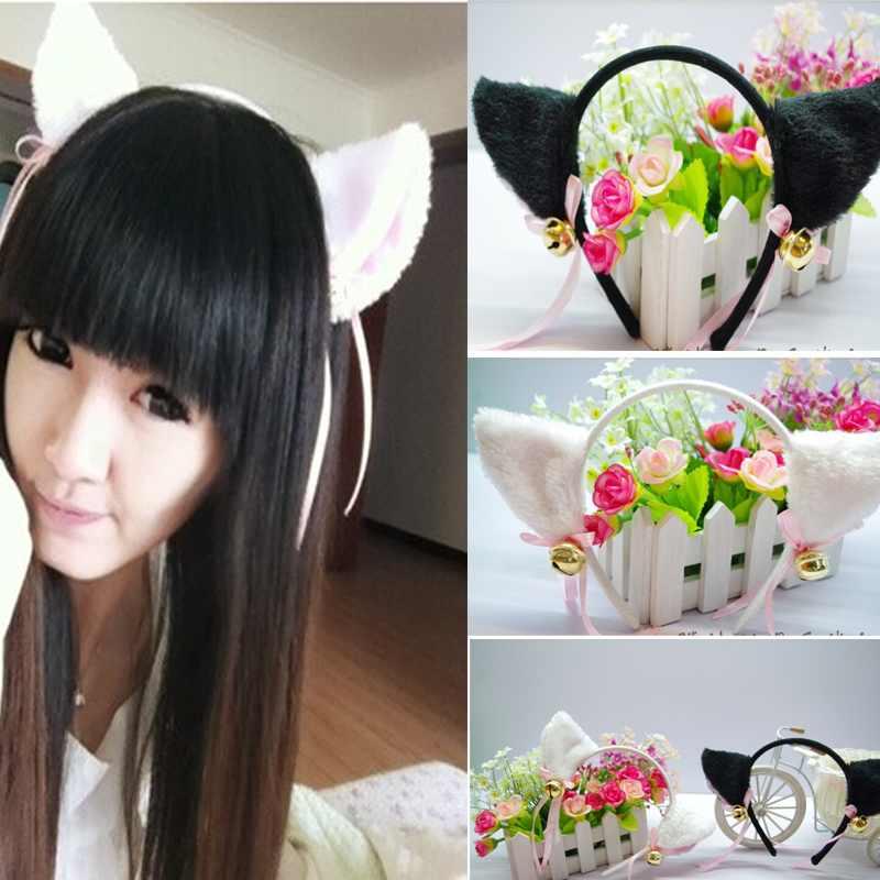 Free Shipping White/Black Fur Cat Fox Ear Hair Clip Bell Handband Headwear Party Ball Club(China (Mainland))