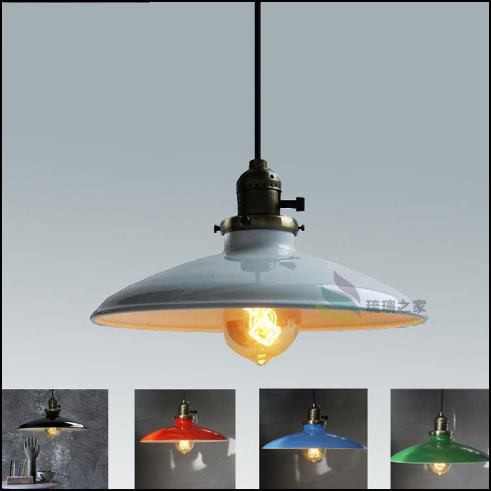 Dia 250mm Nordic Retro Industrial Loft Edison Pendant Light Vintage E27 Base Ikea Simple Pendant Lamp With Five Colour Lampshade(China (Mainland))