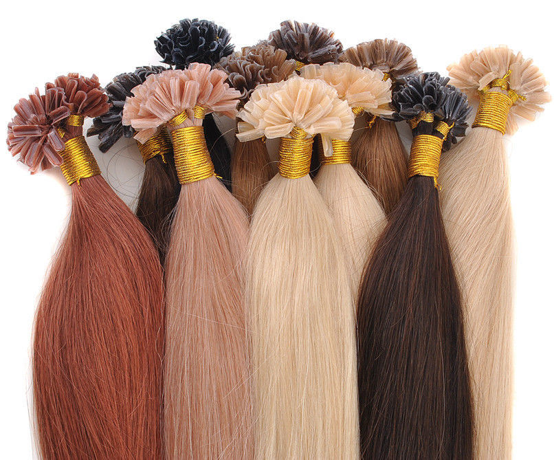5A Grade 10-28'' Silky Straight 0.5g*300s Black Brown Blonde Mixed Ombre Colors 100% Real Person Hair Extensions Nail U Tip(China (Mainland))